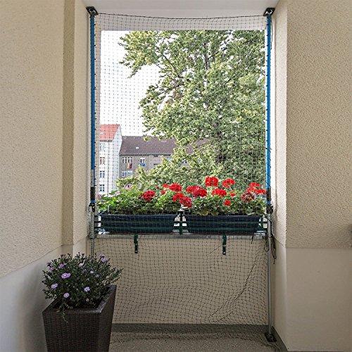 ALLEGRA Katzennetz für Balkon oder Fenster, Katzenschutznetz mit Halterung, Set mit Netz + 2X Teleskopstange ohne Bohren zum Klemmen (2m-3,75m + Netz 3x2m)