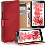 OneFlow Tasche für Samsung Galaxy S5 / S5 Neo Hülle Cover mit Kartenfächern | Flip Case Etui Handyhülle zum Aufklappen | Handytasche Schutzhülle Zubehör Handy Schutz Bumper in Hellrot