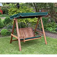Kingfisher FSWSET5 Hardwood Swinging Hammock Bench Seat with Canopy - Multi-Colour