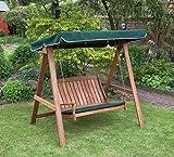 Kingfisher FSWSET5 Hardwood Swinging Hammock Bench Seat with Canopy - Multi-Colour