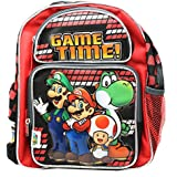 Super Mario Game Time! Red/Black Small Size Kids Backpack (12in)