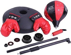 Punchingball Boxen Höhenverstellbar Kinder Geschwindigkeit Vertikal Boxen Boxen Boxball und Boxhandschuhe Set Fitness Sportgeräte