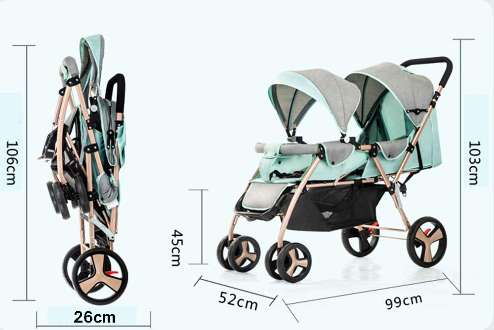Baby Strollers Double Pushchair Twins Tandem Pushchairs, Reversible Seat Convertible Front And Rear Seats Lightweight with Convertible Bassinet Stroller Extended Canopy/Large Storage Basket,Pink MYRCLMY ♥TWIN STROLLER: Getting everywhere with two little ones has never been easier, thanks to the Double Strollers; you can glide around town even when you only have one hand free to steer; you can even roll through a standard size doorway. ♥ADJUSTABLE BACKREST & CONNECTABLE SEATS :The backrest can adjust to fit baby's sleep posture to keep comfortable sleeping. Two seats can be connected to lengthen the seat. ♥SAFETY WHEELS & 5-POINT SAFETY BELTS:The springs in front wheels absorb shocks for easy to control direction and safety. The 5-point safety belt is equipped with each seat to ensure security while keeping your baby fit to the safety belt to feel comfortable. 15