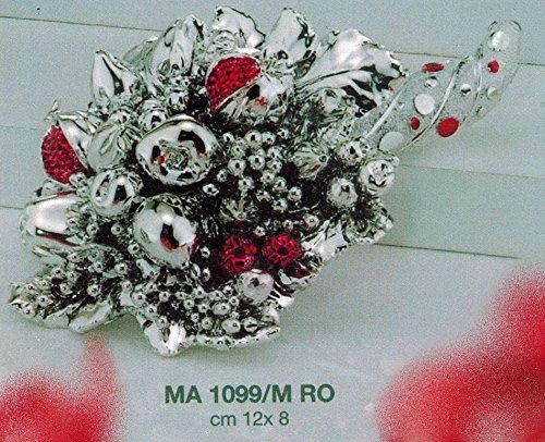 Cornucopia portafortuna a pois rossi con smalto rosso cm12x8 laminato argento made in italy