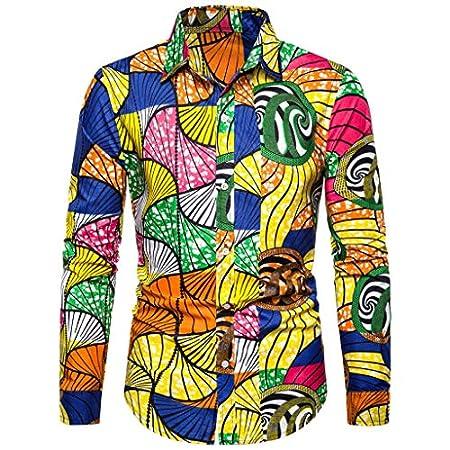 Notdark Herren Hemd Langarm Vintage Basic Bluse Top die Revers Regular Fit T Shirts Floral Gedruckt Männer Slim Fit Hemden(2XL,Mehrfarbig)