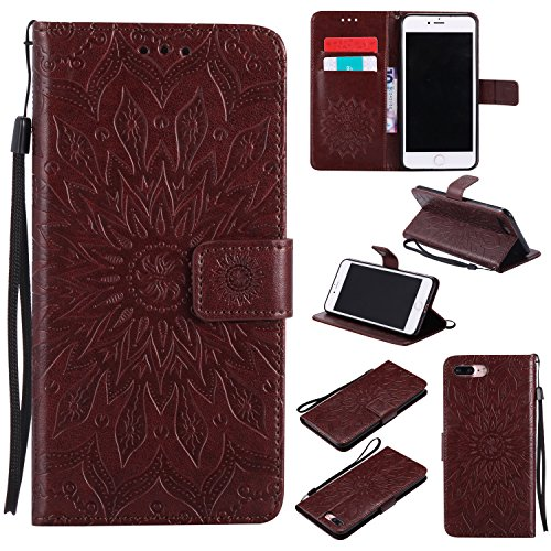 Price comparison product image iPhone 7 Plus (5,5 zoll) Case Leather, Ecoway Sun flower embossed pattern PU Leather Stand Function Protective Cases Covers with Card Slot Holder Wallet Book Design Detachable Hand Strap for iPhone 7 Plus (5,5 zoll) - brown