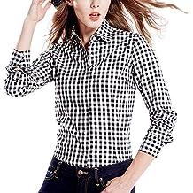 d09f7ed844d8 semen Damen Karierte Blusen Langarmhemd Karierte Bluse Plaid Shirt Hemd  Slim Fit Langarm Beiläufige Oberseite