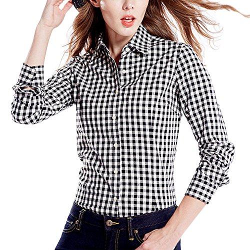 semen Damen Karierte Blusen Langarmhemd Karierte Bluse Plaid Shirt Hemd Slim Fit Langarm Beiläufige Oberseite (Shirt-kleid Checked)