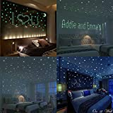 Wall Sticker,3D Moon Star Fluorescent Decals Wall Stickers Kids Room Decor Gifts,200Pcs Stars + 1 Moon