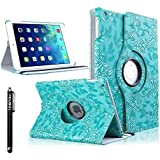 iPad Air Case, TabPow [360 Degrees][Flip][Smart Case] Grapevine PU Leather Flip Case [Magnetic Closure] Smart Cover With Stand [Auto Sleep/Wake] For Apple iPad Air / iPad 5th Generation , Turquoise Blue