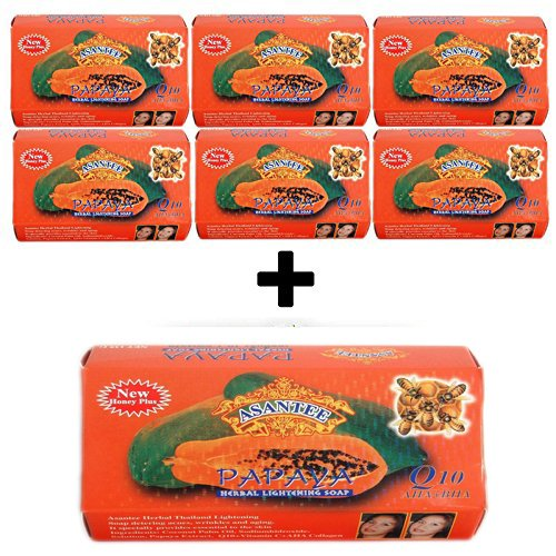 Asantee Papaya Soap, Herbal Skin Whitening Soap 135g (Pack of 7)