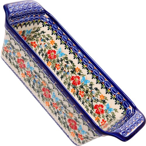 Polish Pottery Ceramika Boleslawiec Bread Meatloaf Baker, 12-3/4-Inch by 5-3/8-Inch, 6 Cups, Royal Blue Patterns with Red Cornflower and Blue Butterflies Motif Blue Flora Cup