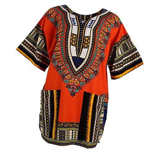 MagiDeal Frauen Traditionelle afrikanische Dashiki Minikleider Sommer Beiläufige Partei Kleider Hippie-Kleider Bodycon Kurzarm Kleid - Orange,...