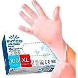 100 guanti in vinile senza polvere, senza lattice, ipoallergenici, certificati CE trasparenti conforme alla norma EN455 e EN3