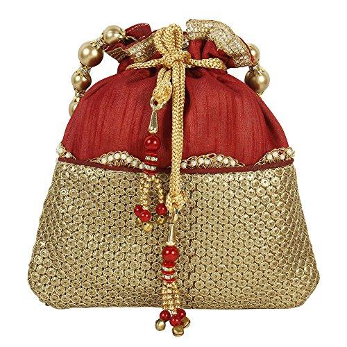 Geldbörse Kollektion wunderschöne Traditionelle indische Stickereien Maroon Colured Polti Geldbörse für Damen