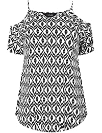 896d84b1f7b6e Yours Clothing Women s Plus Size Tile Print Cold Shoulder Jersey Top