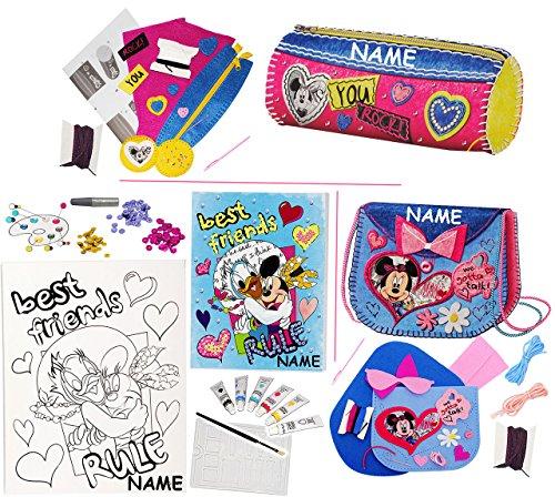 Filz - Bastelset -  Disney Minnie Mouse  - incl. Name - Federmappe / Schmuckrolle / Stiftemappe / Pinselrolle - Stifteetui - einfaches Nähen per Hand - zum ..
