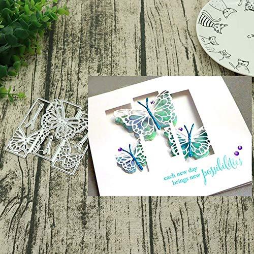 periwinkLuQ Stanzschablone Schmetterling Rahmen Metall Scrapbooking Embossing Schablone DIY Karte Dekor - Silber (Halloween Sieht Diy)