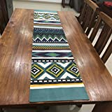#3: FireFlies Fantasy Geometrical Design100% Cotton Canvas Long Table Runner, Blue for Office Kitchen Dining Wedding Party Home Decor 16 X 72 Inches