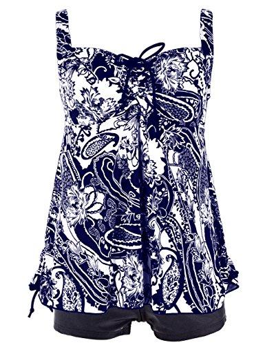 Hilor Damen Kordelzug Tankini-Badeanzug in Übergröße Retro-Badebekleidung 52 Blau (Kordelzug Badeanzug)