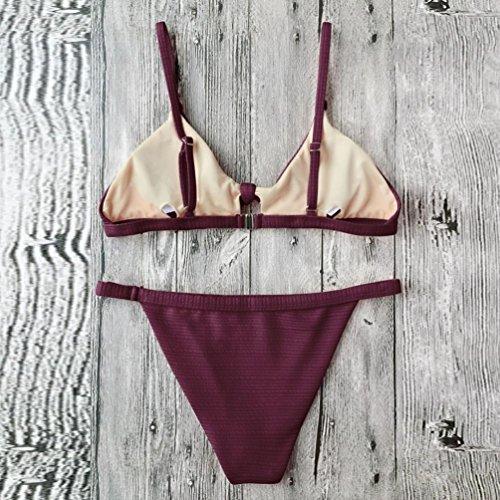 Bikini Donna SamMoSon Costume da bagno sexy stampato push-up Imbotti Stampato Scoop per perizoma annodato Bra Beach Swimsuit costumi da bagno Vino rosso