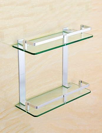 Extrem Feste Duschregal Aluminium Glas Regal Badezimmer Regale Badezimmer  Wand Doppelschicht Lagerung Frame Qualität