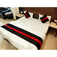 MKS INDIA Dupion Silk Bed Runner with 2 Cushion Covers (Red and Black)