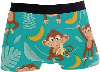 Slip da Uomo Boxer Tropical Leaf Banana Pattern Animal Scimmia Sveglia Intimo Senza Cuciture Maschile Tronchi Stretch Traspiranti Sacchetto Rigonfiamento Mutande morbide