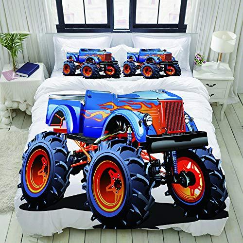 YOUMEISU Set Biancheria da Letto,Cartoon Monster Truck Enormi Pneumatici Fuoristrada Pesanti Grandi trattori Ruote Turbo,Copripiumino Matrimoniale 240 X 260 cm e 2 Federe 50 x 80 cm,Microfib