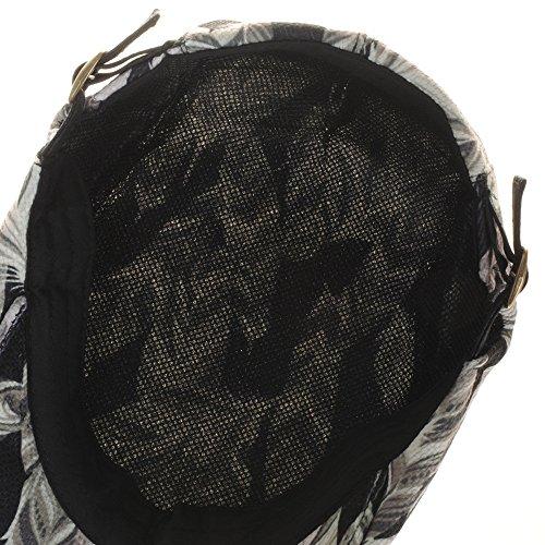 WITHMOONS Béret Casquette Chapeau Flowral Leaf Pattern Newsboy Hat Flat Cap LD3213 Noir
