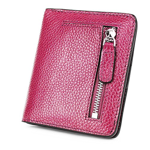 S-ZONE Damen Weich Rindsleder klein Compact Geldbörse Portemonnaie mit Reißverschluss Pocket ID Window (Compact Damen)