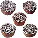 Royal Kraft Motif Floral and Mandala Wood Stamps for Printing - Set of 5