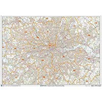 Greater London Postcode Areas Wall Map - 2A Plastic Coated (119 cm x 168 cm)