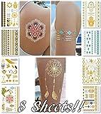 Tatuaggi di trasferimento temporaneo metallico per donne Adolescenti Ragazze - 8 fogli Tatuaggio temporaneo di oro argento scintillante Disegni di gioielli Tatuaggi 100+ tatuaggio impermeabile