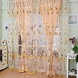 Wingogo Fenster Vorhang Roman Print Tulle Voile Vorhang Bestickt Sheer