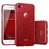 ESRLuxus Glitzer Bling Hülle kompatibel mitiPhone7,iPhone8 Hülle [Glänzende Mode] Designer Schutzhülle für AppleiPhone7/8 4.7 Zoll - Rot