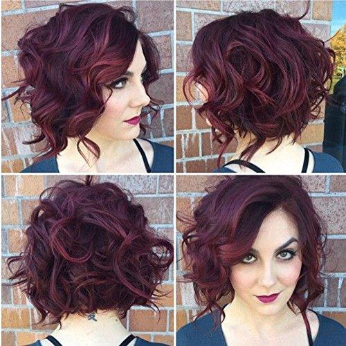 Europäische und amerikanische Wein rote Perücke schrägen Pony Perücke Haar kurzen Absatz Temperament Mode Kunsthaar / Menschenhaar , 2 (Kleider Rote Lust Auf)