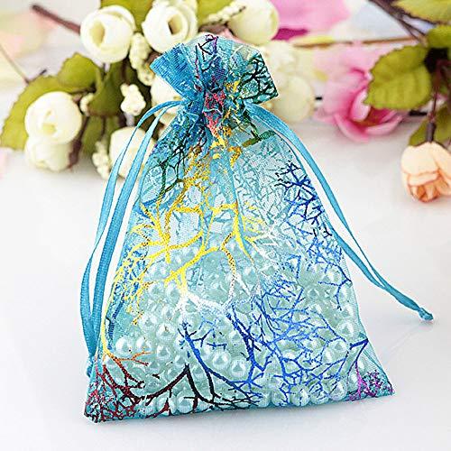 FADDR 100 Stücke Blau Korallen Muster Organza Geschenktüte mit Krawatten, Schmuckbeutel Süßigkeiten Beutel Kleine Geschenktüten für Hochzeitsfest(100pcs,Blau)