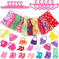 Faburo 40Pcs Doll Accessories, 10 Pack Doll Clothes Party Gown Outfits, 10 Cloth for Barbie, 10 Bags and 10 Shoes for 28-30cm Barbie Doll Girl Birthday Gift