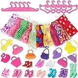 Faburo 40pcs Set Para Muñeca Barbie,10 Piezas Vestido,10 Pares de Zapatos Accesorios,10pcs Perchas de Ropa y 10 Piezas Bolsos Para Muñecas Barbie