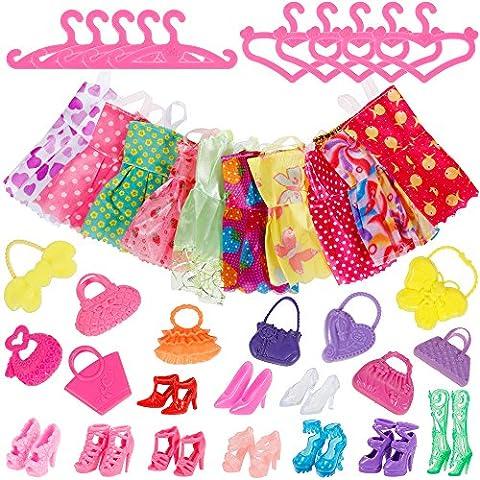 Faburo 40Pcs Poupée Accessories, 10 Parti Robes Vêtements, 10 paires de Chaussures et 10 Sacs pour 28-30cm Barbie Doll Girl Birthday Gift