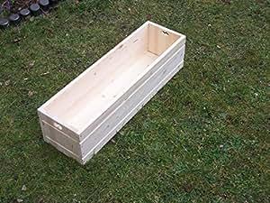 Jardinière en bois boîte à herbes Jardinière de balcon pot de jardinière 80x 22x 20cm avec gefrästem Joint imitation Lot de 4
