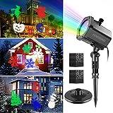 LED Projektor Weihnachten, FengNiao Schneeflocken Projektionslampe Außen mit 12 Wechselbaren Musters, Dynamische Weihnachts Licht, LED Spotlight für Haus, Hochzeit, Garten, Deko Balkon