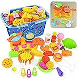 Essen Spielzeug, Vicoki 34 Stück Küchenspielzeug Kinderkoch Spielzeug Pretend Küche Spielzeug Plastik Kochen Geschirr Essen Rollenspiel Küchenzubehör Pädagogisches Spielzeug