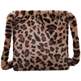 Everpertuk Schultertaschen Damen Leopard Umhängetasche Flauschigen Winter Schultertasche Plüsch Handtasche Crossbody-tasche B