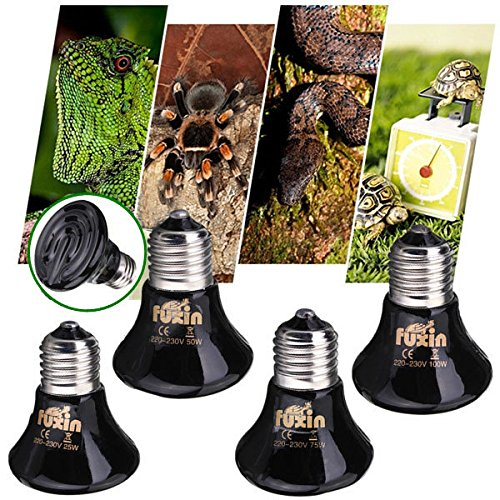 warz keramische Wärme Infrarot Emitter Lampen Birne für Reptile Pet Brooder 25W / 50W / 75W / 100W ()