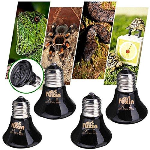 Bazaar 220V Mini Schwarz keramische Wärme Infrarot Emitter Lampen Birne für Reptile Pet Brooder 25W / 50W / 75W / 100W (Pet-lampe)