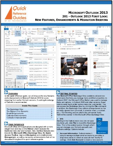 Microsoft Outlook 2013 First Look Quick Reference Card