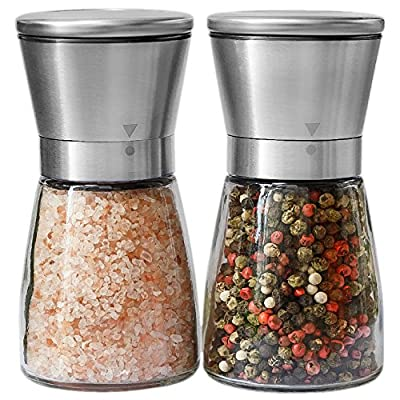 Salt and Pepper Grinder Set - Salt and Pepper Shakers for Professional Chef - Best Spice Mill with Brushed Stainless Steel, Special Mark, Ceramic Blades and Adjustable Coarseness from A&M Online