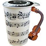 Amazon Brand - Umi 400ml Trinkbecher Tasse Keramik 3D-Griff in Form Einer Geige Musik Noten Kaffee Tee Mug mit Deckel Gesche